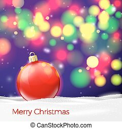 Vector Christmas poster template with red ball