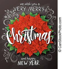 Vector christmas poster with christmas decoration poinsettia wreath with lettering greetings text on blackboard