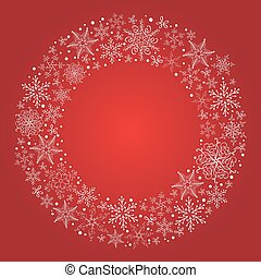 Vector christmas red background with snowflake wreath