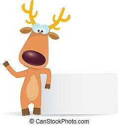 vector Christmas reindeer holding white banner