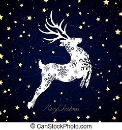 Vector Christmas Reindeer - Vector Illustration of a...