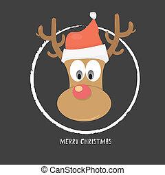 vector Christmas reindeer in santa red hat
