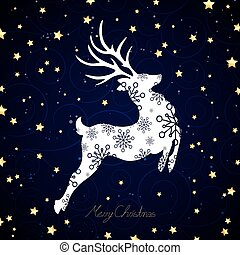 Vector Illustration of a Decorative Christmas Reindeer