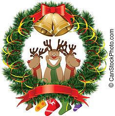 christmas reindeer with christmas bells - vector christmas ...