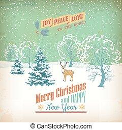 Vector Christmas Retro Greeting Card