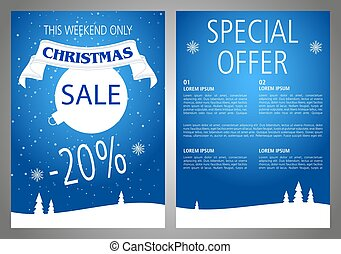 Vector christmas sale flyer design in blue color.
