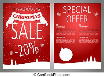 Vector christmas sale flyer design in red color.