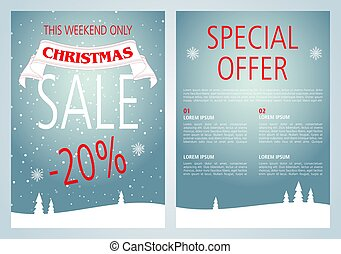 Vector christmas sale flyer design with light blue color.