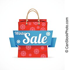Vector Christmas sale red paper bag on white.