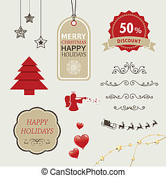 Vector Christmas Sale Tags and Design Elements