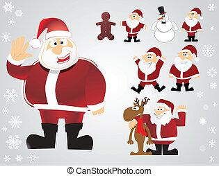 vector christmas santa set