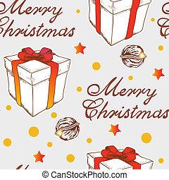 Christmas seamless pattern with gift