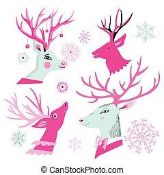 Vector christmas set of deer heads