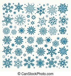 Vector Christmas set of light blue snowflakes and stars on a white background.