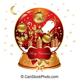 Vector Christmas snowglobe  with traditional elements