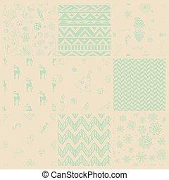 Vector Christmas Subtle Doodles Seamless Background Set
