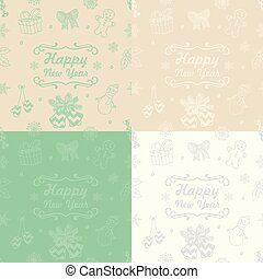 Vector Christmas Subtle Doodles Seamless Background Set