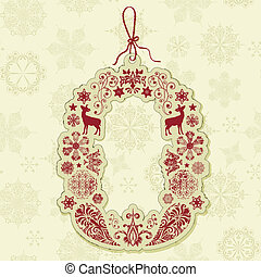 Vector Christmas Tag on Seamless Pattern