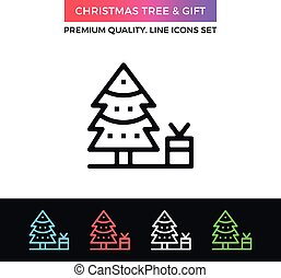 Vector Christmas tree and gift icon. Thin line icon