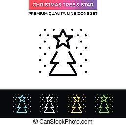 Vector Christmas tree and star icon. Thin line icon