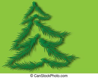 Vector christmas tree. Beautiful illustration with 2020 year for celebration design.