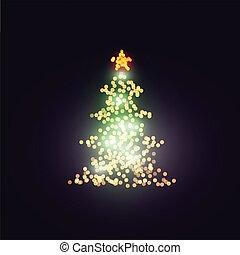 Vector Christmas tree bokeh lights on dark background.