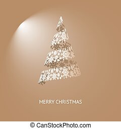 Vector Christmas Tree Brawn Background with Snowflakes