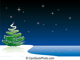 Vector Christmas tree - Abstract vector illustration of a...