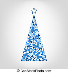 Vector Christmas tree from blue butterfly with star on the top. Greeting card for New Year, Christmas