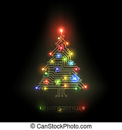 Vector christmas tree from digital circuit