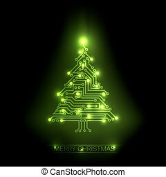 Vector christmas tree from digital circuit - Vector...