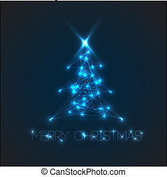 Vector christmas tree from digital electronic blue lights...