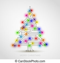 Vector christmas tree from digital electronic circuit and colorful lights