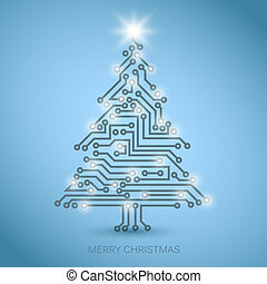 Vector christmas tree from digital electronic circuit - blue...