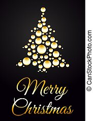 Vector christmas tree from gold ball with merry christmas text