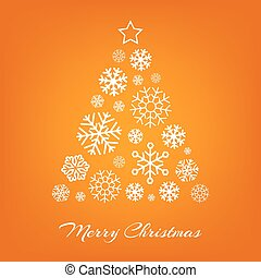 Vector Christmas tree from white snowflakes on orange.