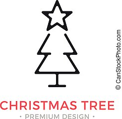 Vector Christmas tree icon. Holidays, Xmas, New Year concepts. Modern graphic design. Outline symbol, sign, simple thin line icon
