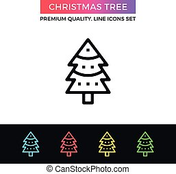 Vector Christmas tree icon. Thin line icon