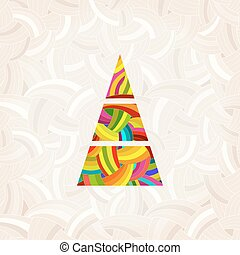 Vector christmas tree in rainbow colors. Colorful pattern under the mask.
