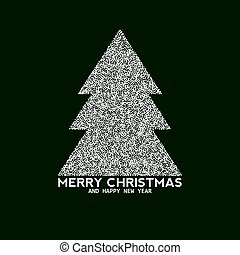 Vector christmas tree made from dots