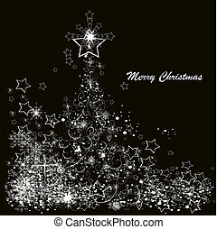 Vector Christmas tree made from snowflakes on a black background