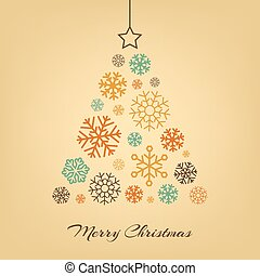 Vector Christmas tree made from snowflakes on beige.