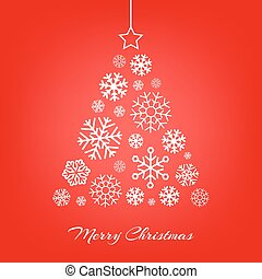 Vector Christmas tree made from snowflakes on red.