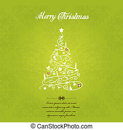 Vector christmas tree on green textured background.