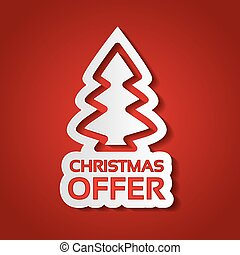 Vector Christmas tree sticker on the red background, white paper silhouette of Christmas offer