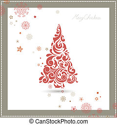 Vector Christmas Tree with Snowflakes