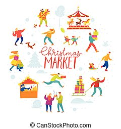 Vector Christmas winter design for holiday market with shopping and active people in a circle.