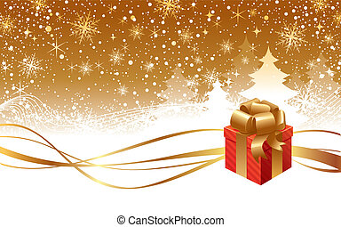 Vector Christmas winter landscape and gift box with golden bow
