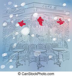 Winter sketch of the Parisian cafe with Christmas decorations
