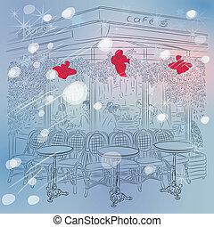 vector Christmas winter sketch of the Parisian cafe - Winter...